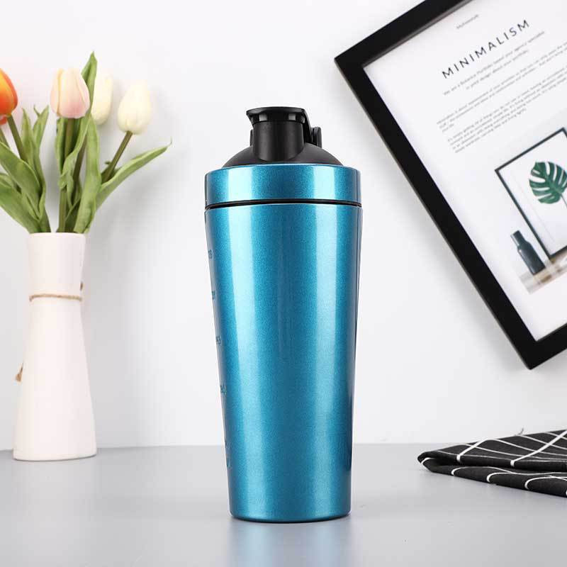 304 Stainless Steel Single Wall Sport Water Bottle Whey Protein Shaker Bottle Cup with Mixing Ball