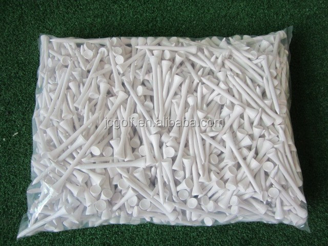 1000pcs/bag wholesale blank logo packed white color 70mm 2 3/4 inch wooden golf tees