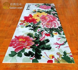 Chinese Rose floral pattern wool carpet and 3D design hand tufted carpet and rugs