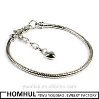 925 Silver Lobster Clasp Bracelet Chain Fashion Bracelet for Men silver snake chain
