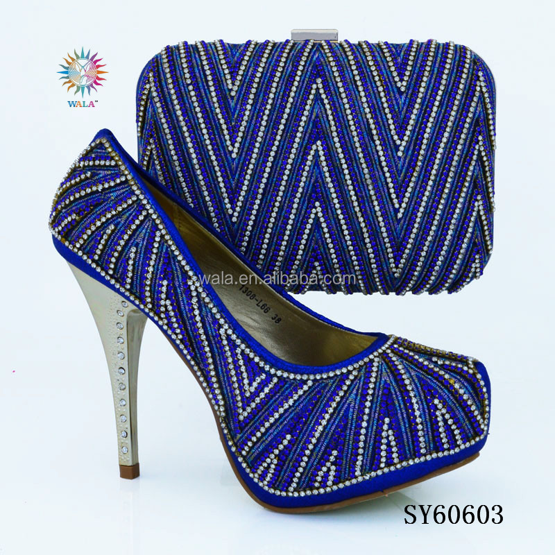 women heel shoes lady high for set SY60603 bag blue and 4 square Royal qCX0wtR1