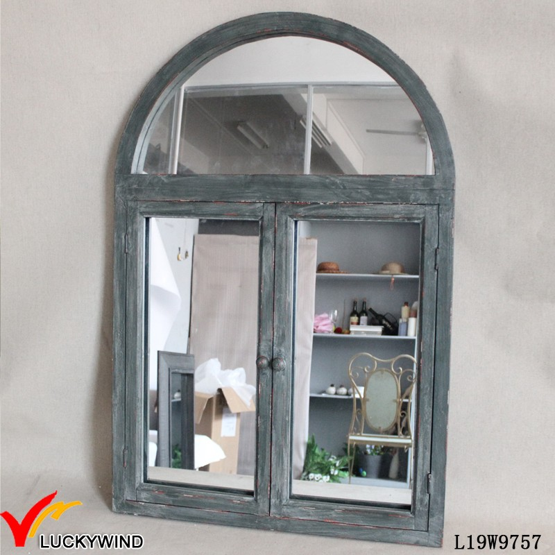 Vintage style antique arched window mirror buy french for Miroir 3 volets