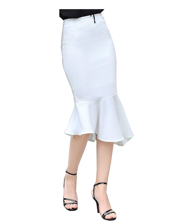 Get Quotations · Women s Sexy irregular Skirts Mermaid Skirt Lotus leaf hem db4edf689fa6