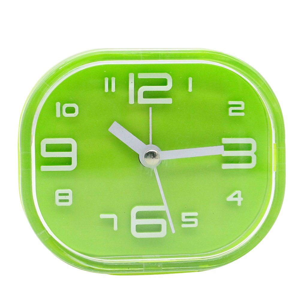 Alarm Clock,CENDA Round Silent Analog Plastic Alarm Clock Non Ticking Simple Design Beside Desk Alarm Clock (Green)