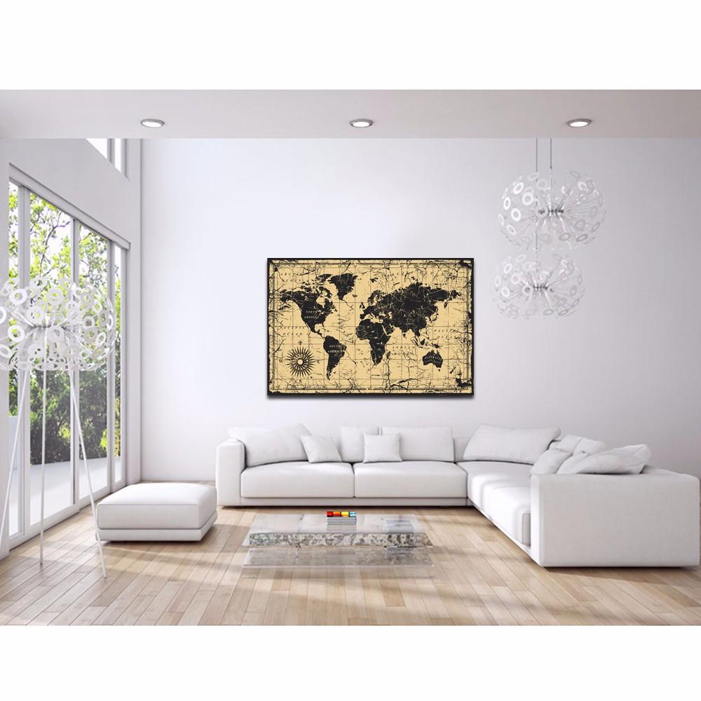 Große Größe Weltkarte Leinwand Wandkunst Für Heimtextilien Abstrakte ...