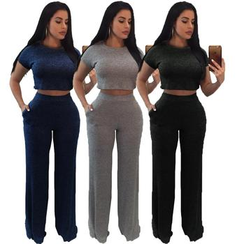 Knit Short Sleeve Two Pieces Set Round Neck Tops High Waist Wide Legs Long Pants women jumpsuits and rompers