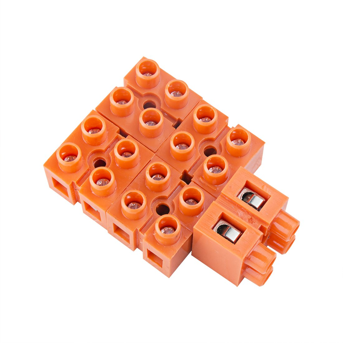 uxcell 5pcs 600V 36A Dual Row 2 Positions Screw Terminal Electric Barrier Strip Block