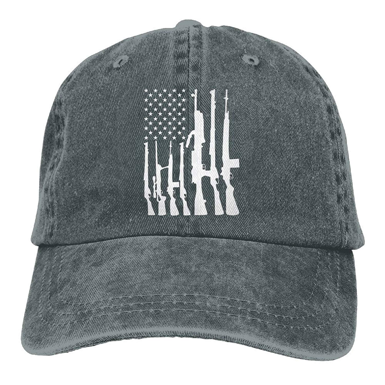 Enpengd Never Disarm Guns USA Flag Fashion Men & Women Adjustable Cowboy Cotton Baseball Hats Asphalt