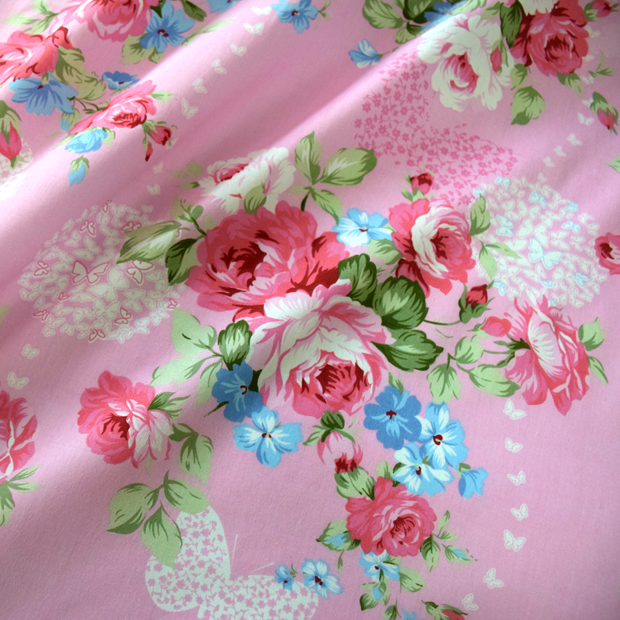 Hot Sale Wholesale 100% Cotton flower print bedsheet fabric/Printed fabric for making bed sheet
