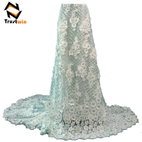 Trustwin latest bridal wedding dress embroidery african fabric french tulle lace