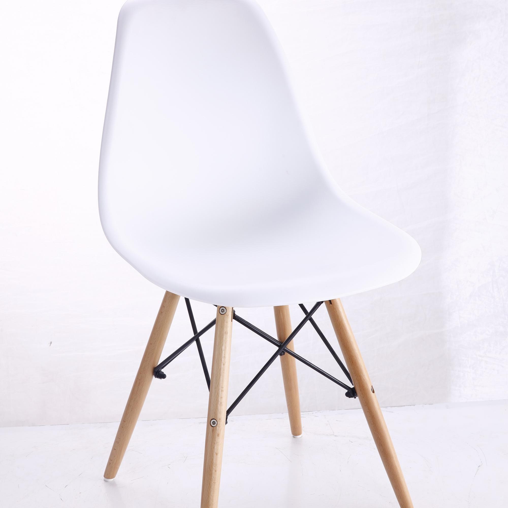 Cheap White Kitchen Plastic Chair With Wooden Legs / Restaurant