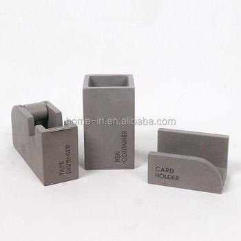 Stationery Desktop Concrete Tape Dispensername Card Holder And Pen