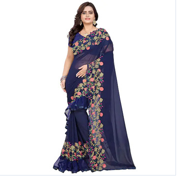 2019 best selling women's navy blue embroidery saree with blouse