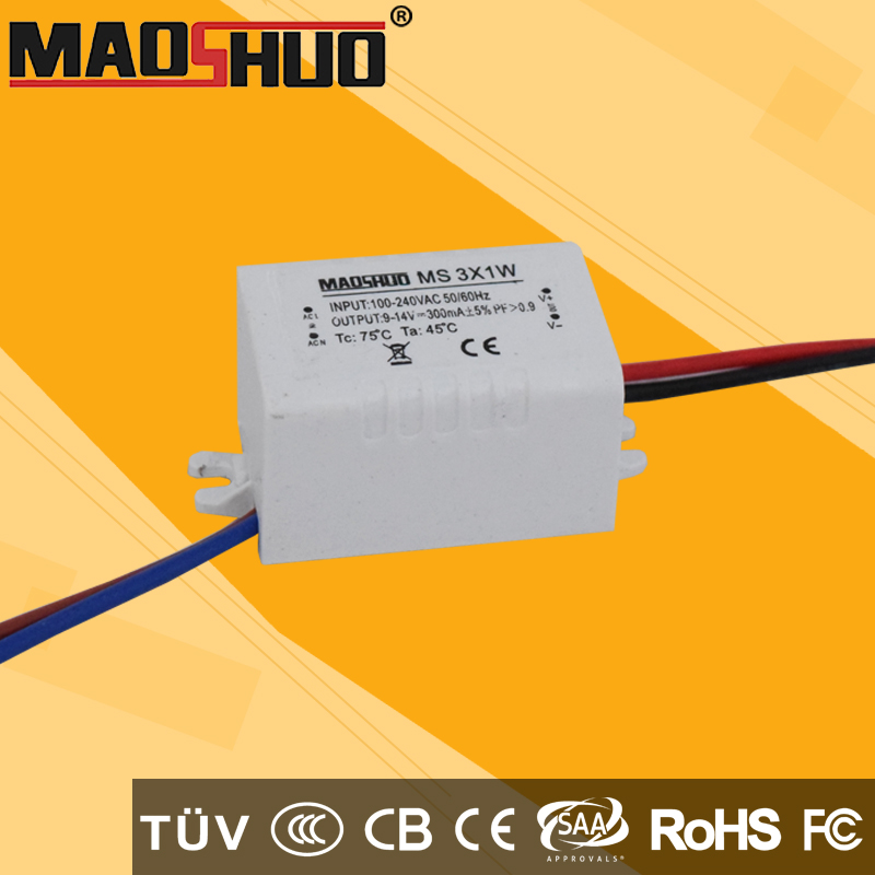 Constant current led driver 3x1w water proof led power supply