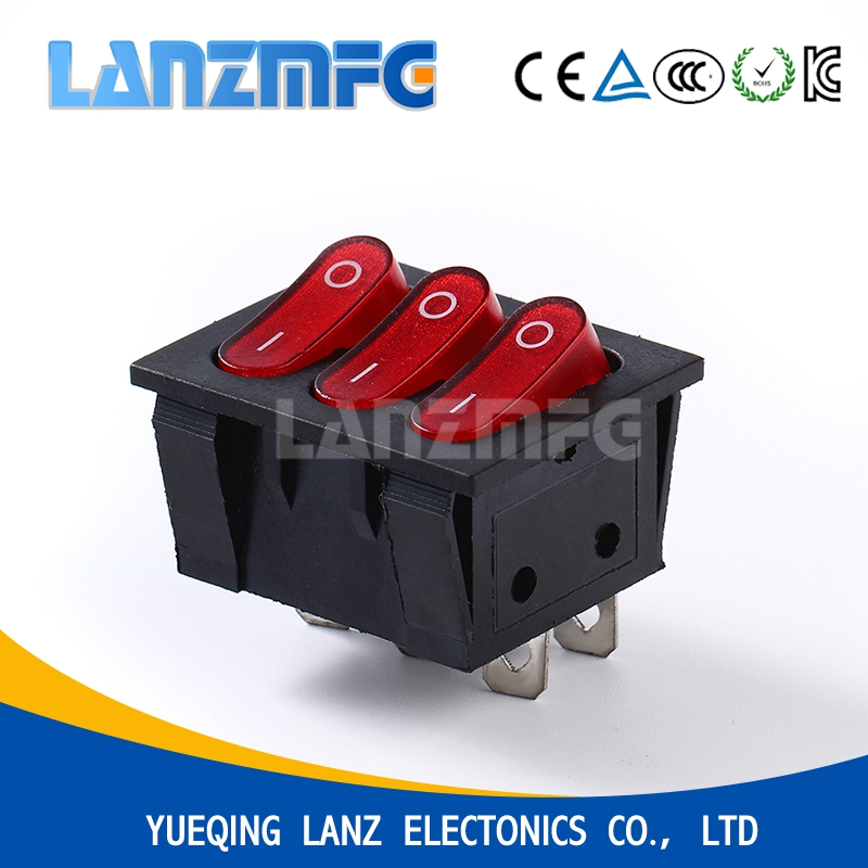 KCD9 - 301N 3 Way 6 Pin Rocker Switch,Become Warped Board Power Switch