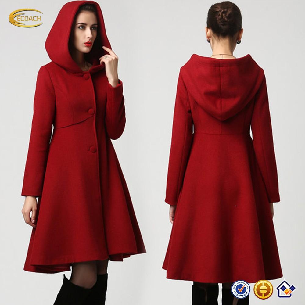 neueste neue mode frauen rot wolle midi winter mantel kleid