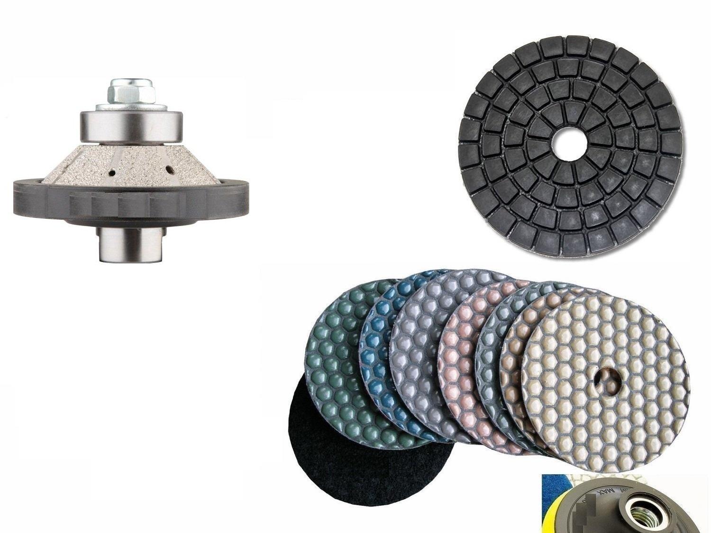 "Bevel / 45 Degree Bullnose E20 (20mm) 3/4"" Diamond Brazed Router Bit Profiler 4 Inch DRY Polishing Pad 9 Pieces Damo Final Glazing Buffing Pad Granite Marble Concrete Terrazzo Stone Travertine"