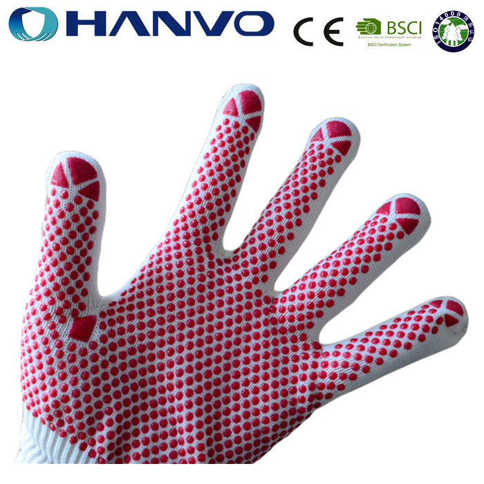 HANVO 10G String Knitted Nylon Gloves With PVC Dot Gloves