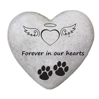Paw print heart pet memorial stone for dog or cat