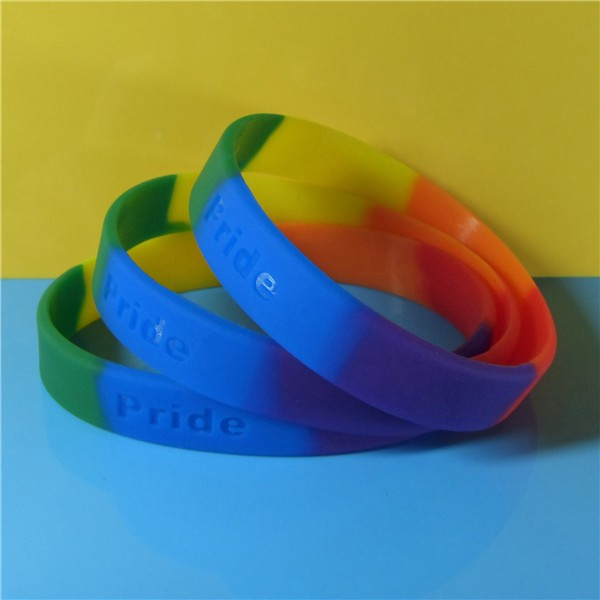 Custom Segmented Color Debossed Color Filled Silicone Wristbands