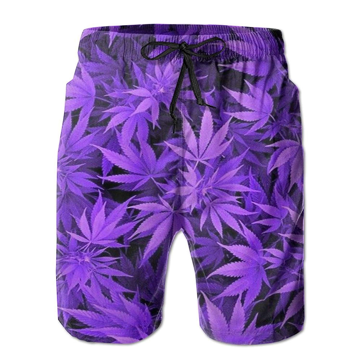 679e80a9cc Get Quotations · JINYOUR Purple Weed Men's Quick Dry Swim Trunks Beach Shorts  Boardshorts