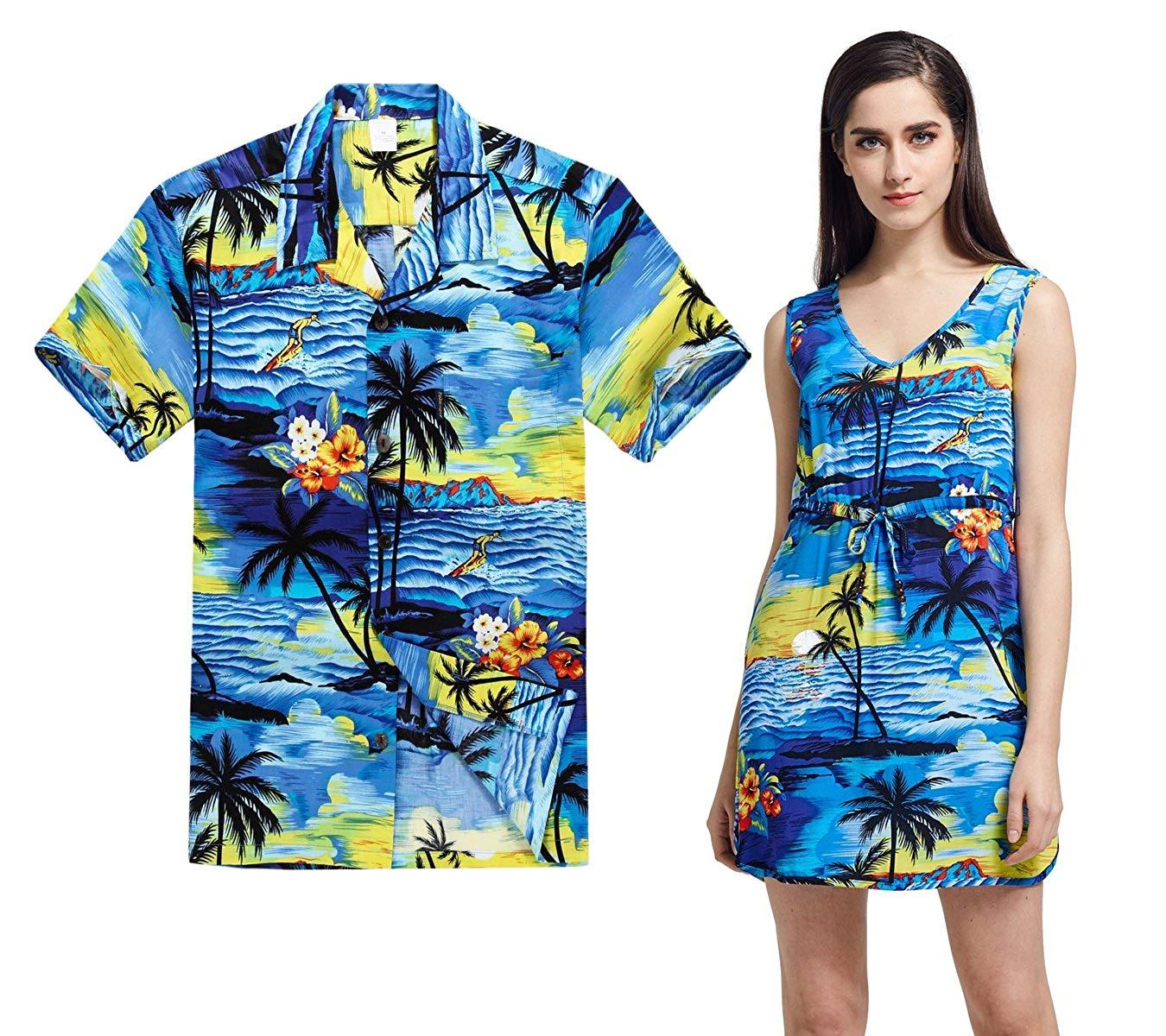 060a4cd77d08 Hawaii Hangover Couple Matching Hawaiian Luau Outfit Aloha Shirt Tunic Slip  On Dress In Sunset Blue