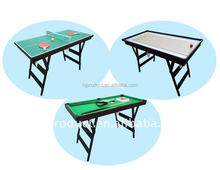 Factory price 3 in 1 multi game table 47'' folding snooker , table tennis , shuffle board
