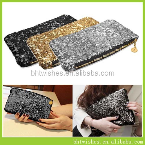 Ladies clutch bags/Women Sequin cosmetic clutch bags