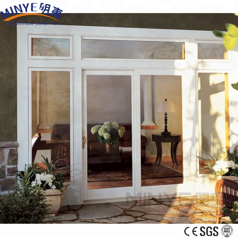 Double tempered glass UPVC sliding doors with unique design