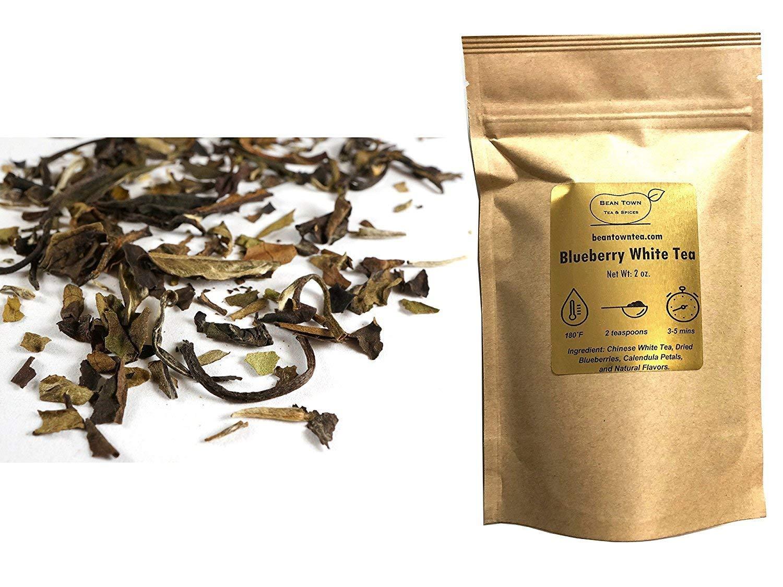Beantown Tea & Spices - Blueberry White Tea. Gourmet Loose Leaf White Tea. Rich in Antioxidants. 100% Natural. (4 oz. (50 Servings))