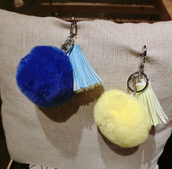 High Quality Tassel Keychain Pompom Faux Rabbit Fur Pompom Ball
