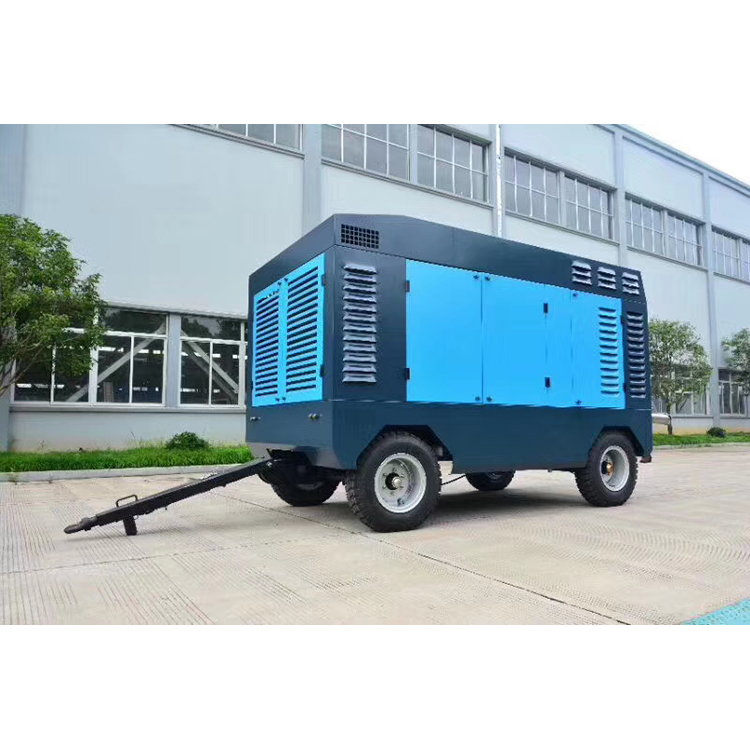 New HGT1050-25 25bar high pressure diesel four wheel portable screw air compressor machine