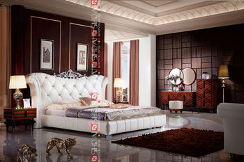 b9023 king size leather bed frame french style bed manual adjustable bed