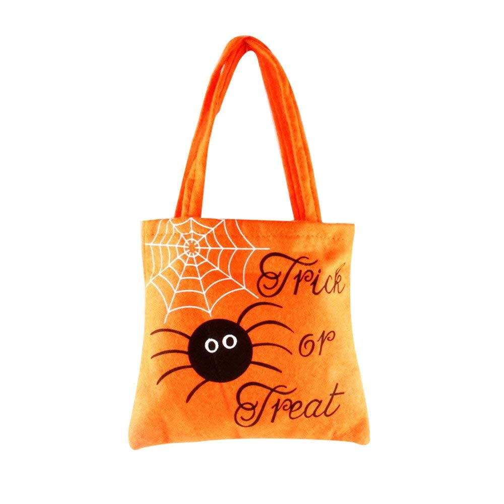 Gbell Halloween Pumpkin Spider Sugar Hnad Bag for Kids Boys Girls Party Trick or Treat Storage Bag Gift,Also for Halloween, Boutique, Department Stores Decoration,19×18.5×20.5CM,1Pcs (Orange)