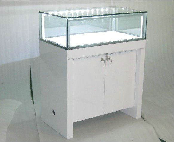 Led Light Strip Glass Display Cabinet Showcase With Opening Door ...