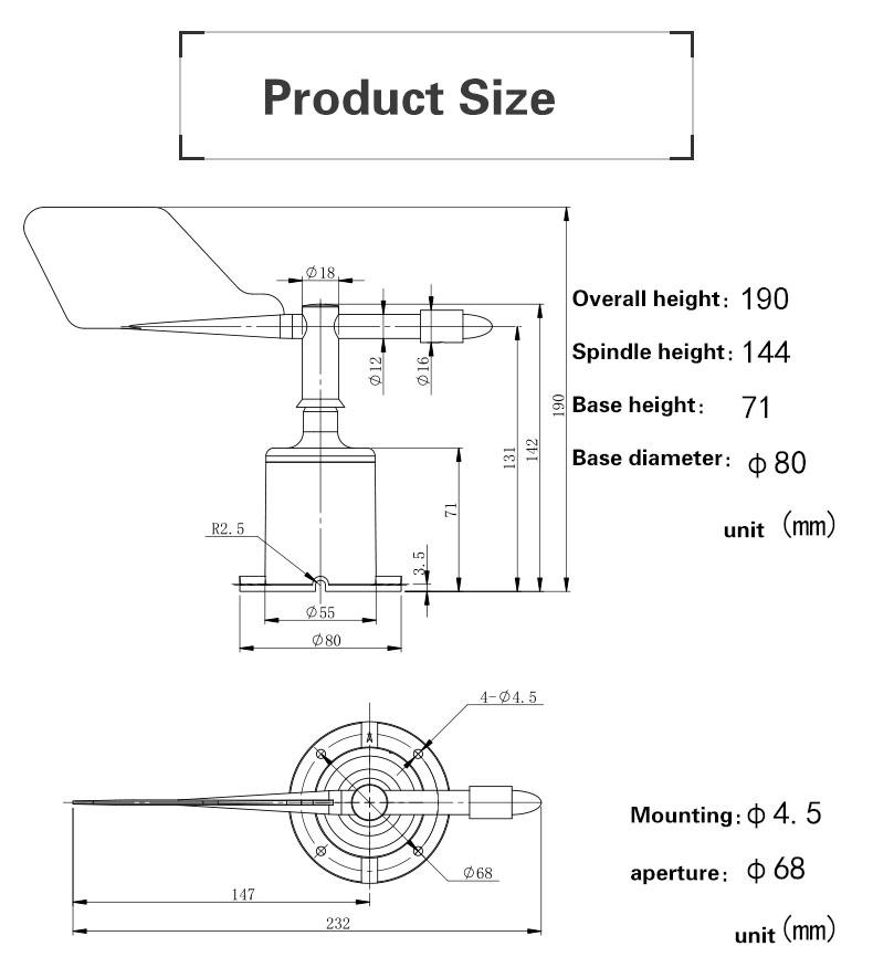Analog Output Hall Effect Vane Sensor Indicator Wind Direction Sensor