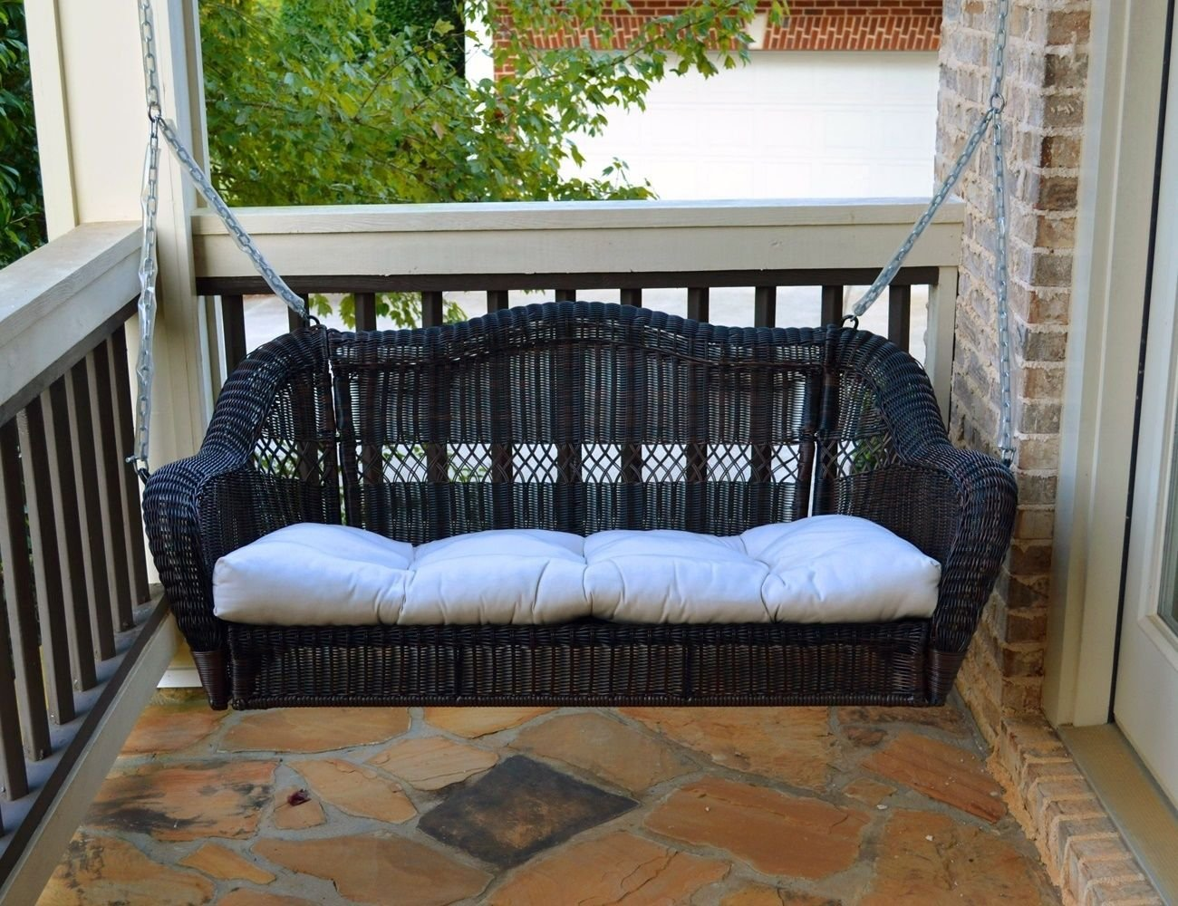 Get Quotations · Beautiful Outdoor Portside Porch Swing In Dark Roast All  Weather Resin Wicker  By# Cj