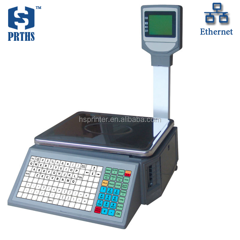 Electronic scale thermal label printing support English Arabic with 10000plus data storage capacity for supermarket weigher