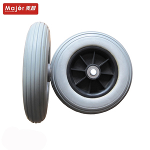 Small nylon or PP plastic wheel PU foam tire with bearing hand trolley/garden trailer/wheelbarrow wheel