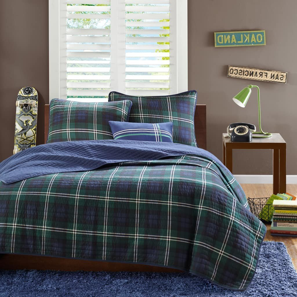UK4 4 Piece Kids Blue Plaid Full Queen Coverlet Set, Green White Checked Bedding Cabin Themed Lodge Lumberjack Pattern Patchwork Horizontal Vertical Stripes Line Striped, Polyester