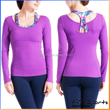 Factory fashion design Polyester Spandex Custom long sleeve shirt Women sports bra Yoga tops
