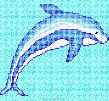 Dolphin Fish Swimming Pool Glass Mosaic Pattern Tile Blue - Buy Dopline  Mosaic Pattern,Mosaic Pattern,Swimming Pool Tile Blue Product on Alibaba.com