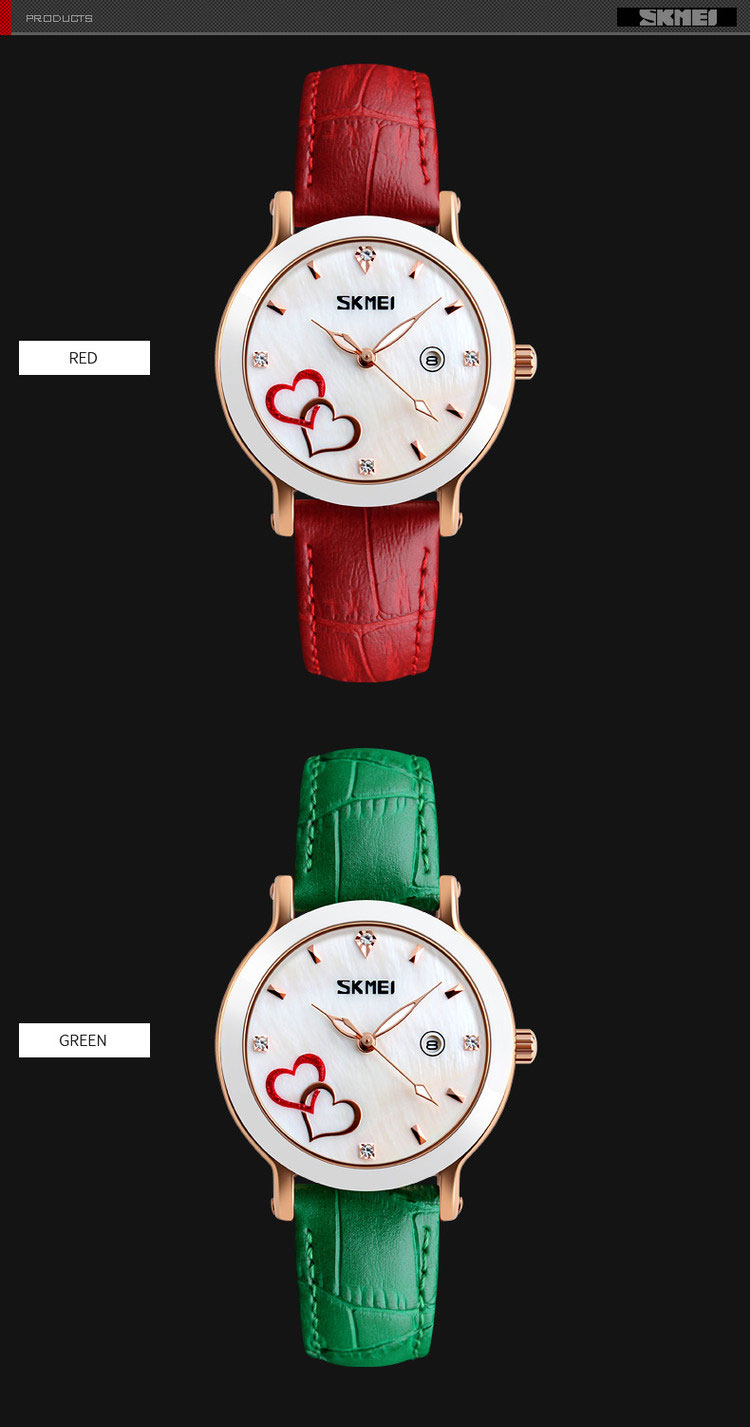 Relojes de mujer Skmei #9144 japan movement quartz ladies watches, leather strap watch of women