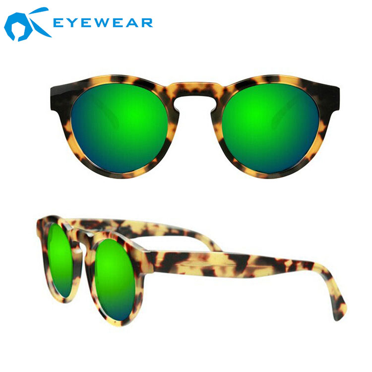 293ddfc87d Men s Wholesale China Green Mirror CR39 Lenses Round Frame Italian Comotec  Hinges Customizable Modern Sunglasses