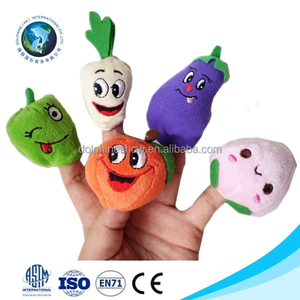 Cute baby toy fashion making finger puppet cheap stuffed soft plush fruit finger puppet