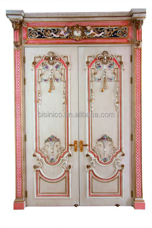 French Baroque Style Pink Frame Swing Double Interior Door