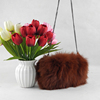 Woman Fox Fur Handbag and hand warmer/muff with Chains