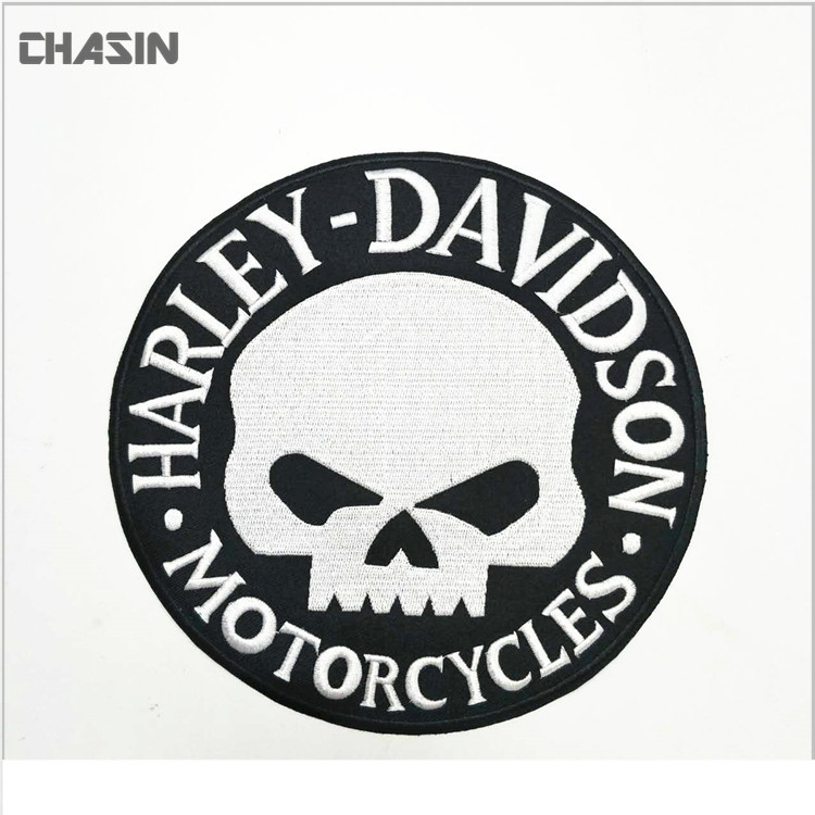 Factory custom sales biker motorcycle embroidery skull patch for clothes
