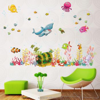 kartun dekorasi rumah stiker dinding seaworld finish tanaman air