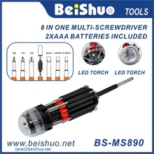 LED Light 8 in 1 multi screwdriver with Torch Flashlight Light Pocket Multi-tool
